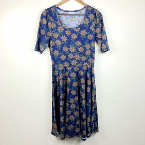 Lularoe Nicole Sunflower Blue Dress Large